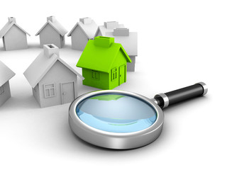 New house search with magnifier glass. real estate concept