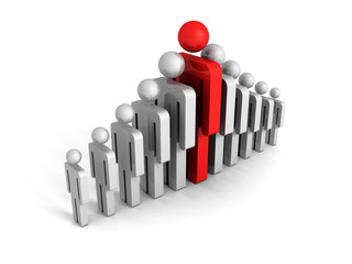 leadership concept with red big human icon figure