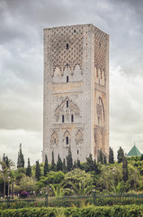Hassan tower - important historical complex in Rabat, Morocco