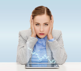 businesswoman with tablet pc and forex graph
