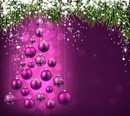 Christmas tree with purple christmas balls.