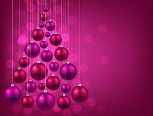 Christmas tree with purple christmas balls.