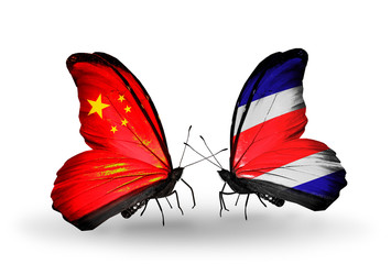 Two butterflies with flags China and Costa Rica