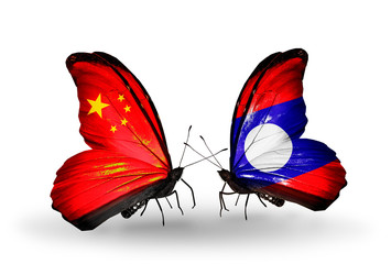 Two butterflies with flags China and Laos