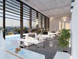 Modernes Büro im Sonnenlicht - modern loft office