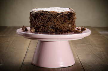 brownie on a pink cakestand