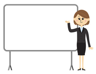 A young female employee and a whiteboard