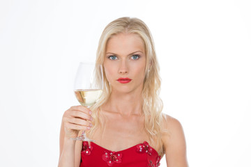 sensual nordic girl holding a white wine glass on white backgrou