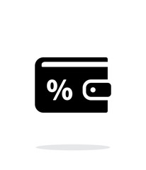 Wallet with percentage icon on white background.