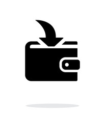 Incoming payment in wallet icon on white background.