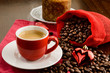 canvas print picture - Espresso for Christmas breakfast, selective focus