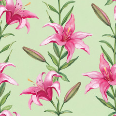 Watercolor pattern with lily flower illustration