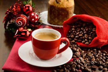 Espresso for Christmas breakfast, selective focus