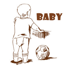 Baby with a ball. Hand-drawing.