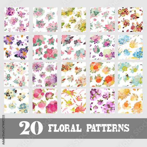 Fotobehang Kunstmatig seamless patterns set