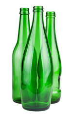 Three green empty bottles