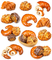 Collection of fresh and delicious pastries on a white
