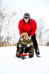 Mother and her little son enjoying a sledge ride in a snowy park