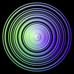 Rainbow colored disc, sphere in black background
