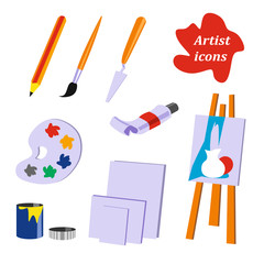 Icon collection. Tools of the artist