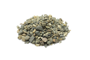 small handful of crushed stone on a white background