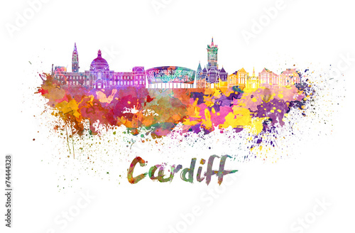 Cardiff skyline in watercolor