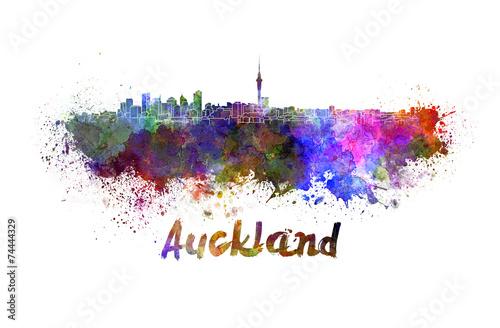 Fotobehang Nieuw Zeeland Auckland skyline in watercolor