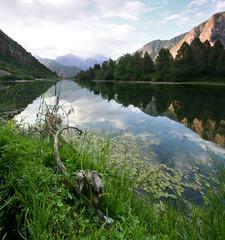 Озеро в горах. Утро. Пейзаж