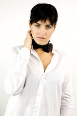 Fashion female model wearing tie and shirt