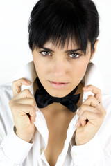 Sensual young woman with tie and shirt