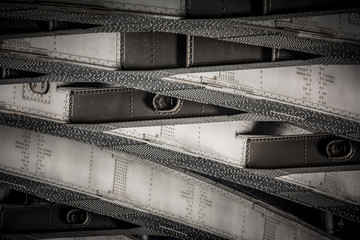 riveted metal from bridge, textural background