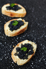 Sandwich with black caviar