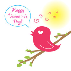 Bird on the branch - Happy Valentine's Day!