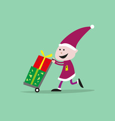 Logistics Elf concept for Santa Claus giftgiving