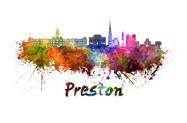 Preston skyline in watercolor