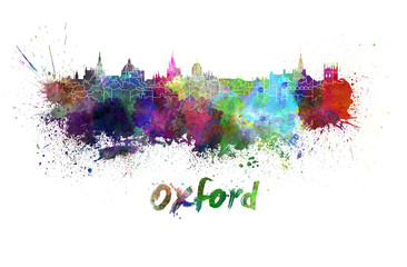 Oxford skyline in watercolor