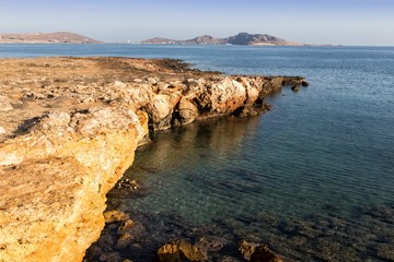 The rocky coast of Naussa, Paros
