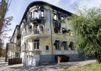Mariupol, Ukraine - October 11, 2014: abandoned buildings of the