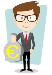Businessman or banker with a Bag of Gold Cash Euro. Vector