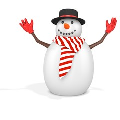3d cute snowman with hat