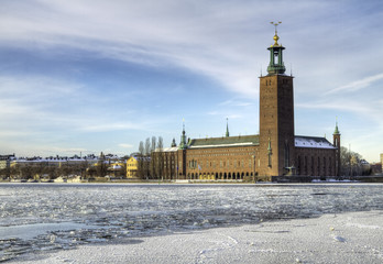 Stockholm City-hall and Riddarfjarden in winter.