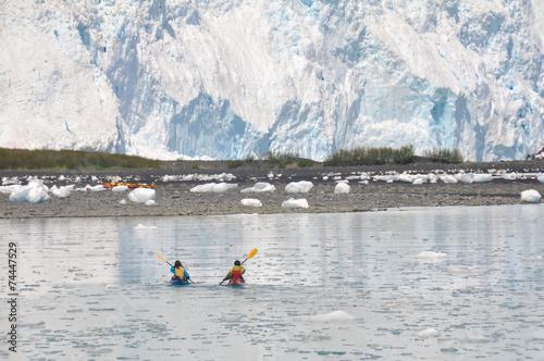 kayakers in front of Aialik glacier, Kenai Fjords (Alaska) - 74447529