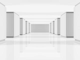 langer leerer Gang in einem öffentlichen Gebäude