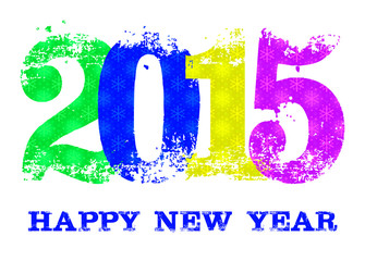 2015 Happy New Year text on white background