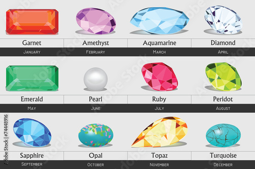 Collection of isolated gemstones by month, no gradients - 74448916