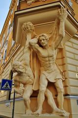 Sculpure men, architecture detail
