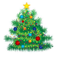 Christmas decorated tree on white background