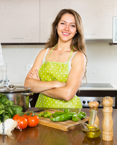 canvas print picture housewife cooking food