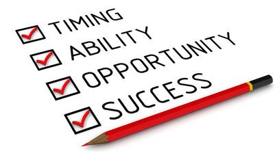 Концепция успеха. Timing, ability, opportunity, success
