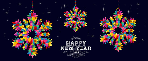 Happy New Year 2015 snowflakes card design